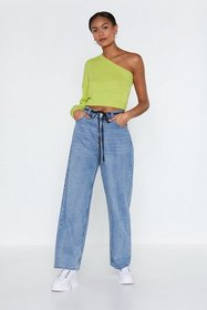 Nasty Gal Womens Blue Gimme Space Wide-Leg Jeans