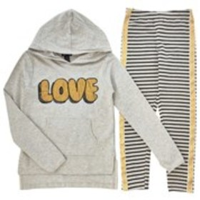 LIMITED TOO Girls Glittery Love Graphic Hoodie wit