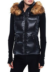 S13 Glossy Faux Fur Hooded Puffer Vest JET