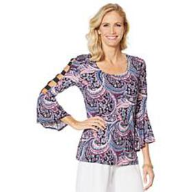 Slinky® Brand Cutout-Sleeve Printed Tunic with Bel