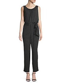 T Tahari Tied Polka Dot Blouson Jumpsuit BLACK
