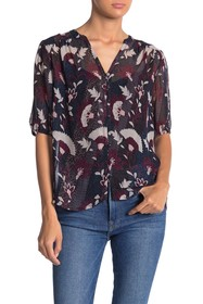 Lucky Brand Floral Woven Button Down Blouse