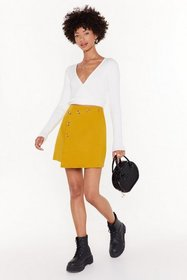 Nasty Gal Womens Mustard Anyone Else Button You Wr