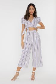 Nasty Gal Womens White Stripe-r Active Cropped Wid
