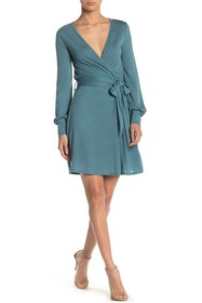 Go Couture Surplice Long Sleeve Fit & Flare Dress