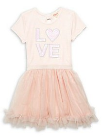 Btween Little Girl's Love Tutu Dress IVORY
