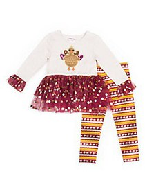 Little Lass Little Girl's 2-Piece Turkey Printed L
