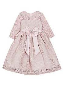 Rare Editions Little Girl's Lace Bow Dress BLUSH