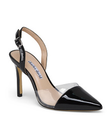 CHARLES DAVID Ankle Strap Leather Pointy Toe Pumps