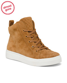 NATURALIZER Wide High Top Lace Up Suede Sneakers