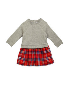 Burberry Francinie Sweatshirt & Plaid Skirt Dress
