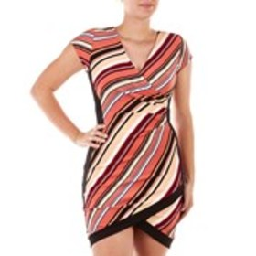 ALMOST FAMOUS Juniors Colorblock Wrap Dress