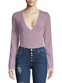 Free People Super Soft Deep V Bodysuit LAVENDER