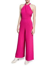 Julia Jordan Twist-Neck Wide-Leg Halter Jumpsuit