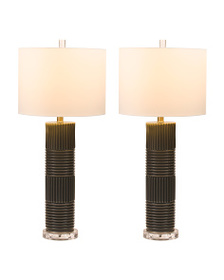 STYLECRAFT Set Of Two Pearlized Glass Lamps