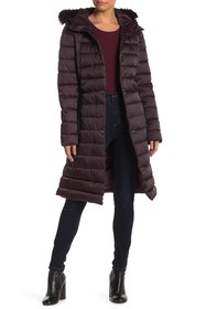 Kenneth Cole New York Faux Fur Trim Belted Quilted