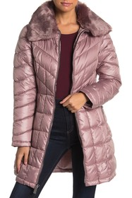 Kenneth Cole New York Removable Faux Fur Quilted C