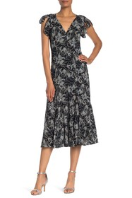 Cinq a Sept Lisette Patterned Ruffle Cap Sleeve Dr