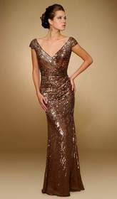 Rina Di Montella - RD1841 Sequined Wide V-neck Chi