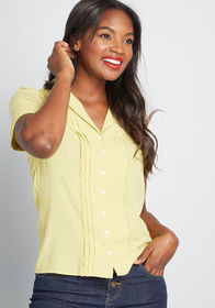 ModCloth Sweet Guarantee Button-Up Top in Muted Ye