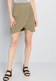 Tempted by Tulips Mini Skirt Olive