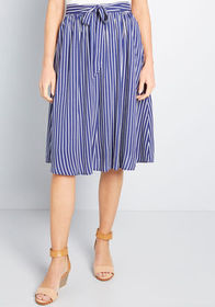 ModCloth ModCloth Stir Things Up Midi Skirt Navy/W