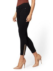 High-Waisted Zip-Accent Super-Skinny Ankle Jeans -