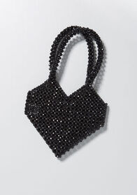 Ciao Amore Beaded Heart Clutch Black