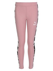 PUMA Girl's Camo-Striped Leggings BRIDAL ROSE