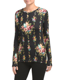 PHILOSOPHY Long Sleeve Flora Crew Neck Top