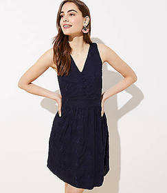Embroidered Button Flare Dress