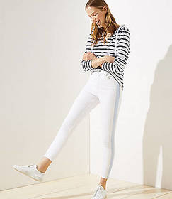 Side Stripe Frayed High Rise Skinny Crop Jeans in