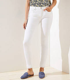 Curvy Double Frayed Slim Pocket Skinny Jeans in Wh
