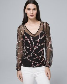 Floral-Embroidered Top