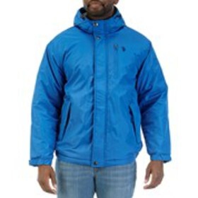 Mens Hooded Active Windbreaker With Faux Sherpa Li
