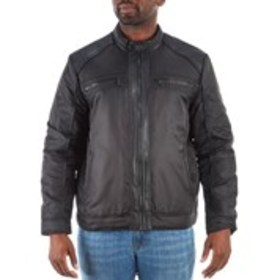 Mens Zip Front Jacket With Faux Leather Trim