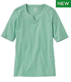 LL Bean Pima Cotton Tee, Notch-Neck Elbow-Sleeve T