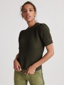 Lucky Brand Pleat Shoulder Short Sleeve Sweater