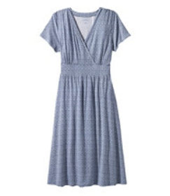 LL Bean Summer Knit Dress, Short-Sleeve Print