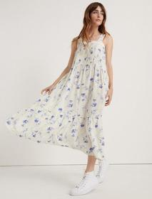 Lucky Brand Pomegranate Crepe Floral Dress