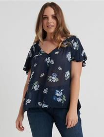 Lucky Brand Smocked Short Sleeve Top