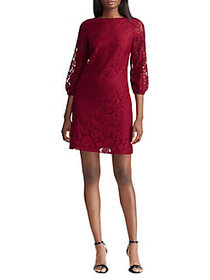 Lauren Ralph Lauren Lace Peasant-Sleeve Shift Dres