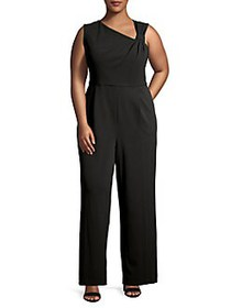 Calvin Klein Plus Knotted Sleeveless Jumpsuit BLAC