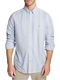 Nautica Navtech Striped Button-Down Shirt NATURAL