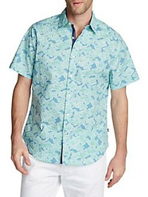 Nautica Printed Stretch Oxford Shirt ALASKAN BLUE