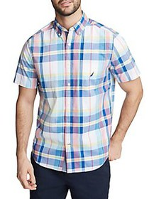Nautica Plaid Short-Sleeve Button Down Shirt BRIGH
