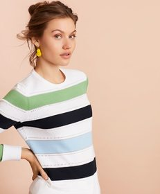 Brooks Brothers Pointelle-Detail Striped Sweater