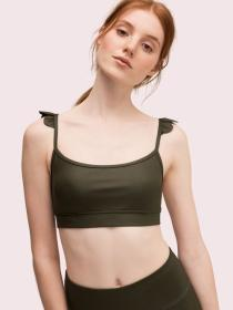 ruffle shoulder sports bra