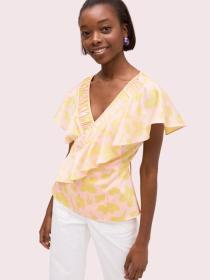 splash ruffle wrap top