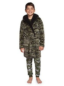 Dex Boy's Printed Faux Fur-Trimmed Robe KHAKI